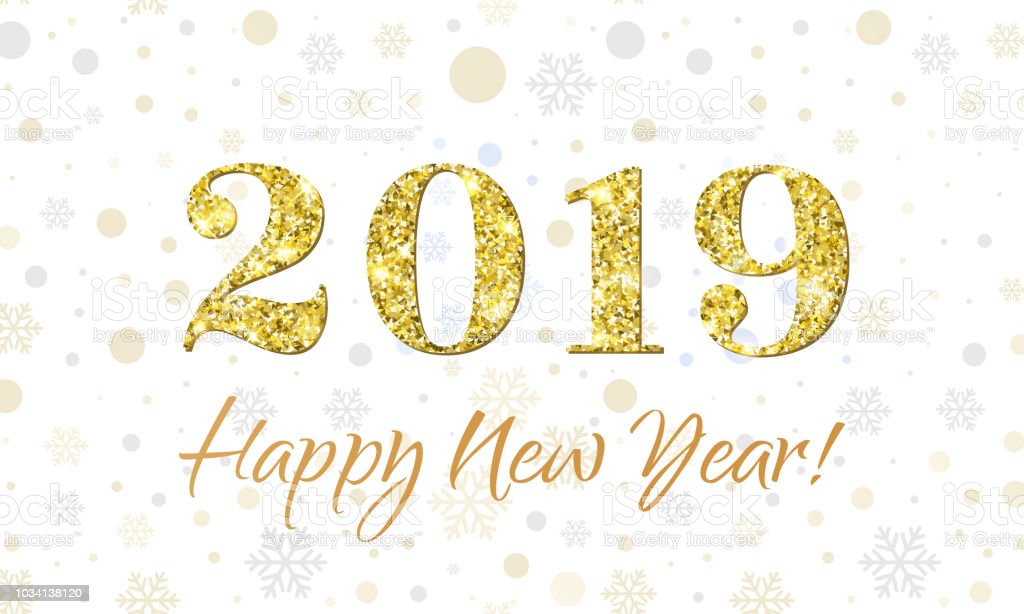 Happy New Year 2019 Greeting Card Of Vector Glitter Gold