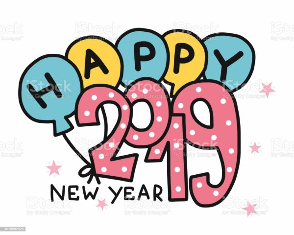 happy year 2019 word and balloon