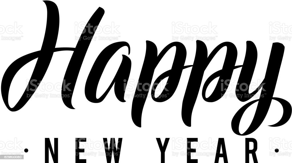 Happy New Year Calligraphy Greeting Card Black Typography