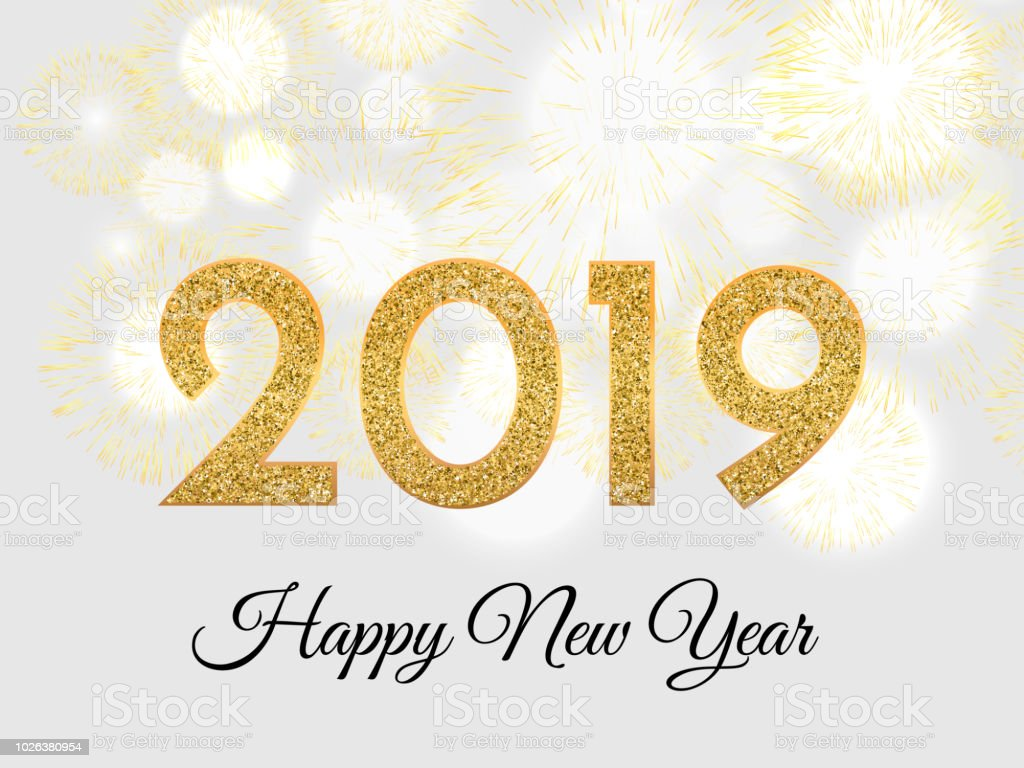 Cute Turquoise Wallpapers 2019 Happy New Year Gold Fireworks On Light Background New