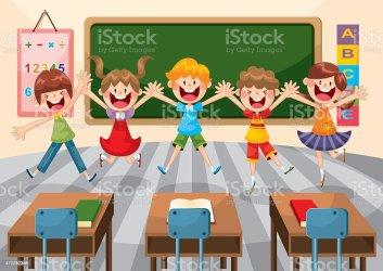classroom illustrations preschool vector clip student happy illustration