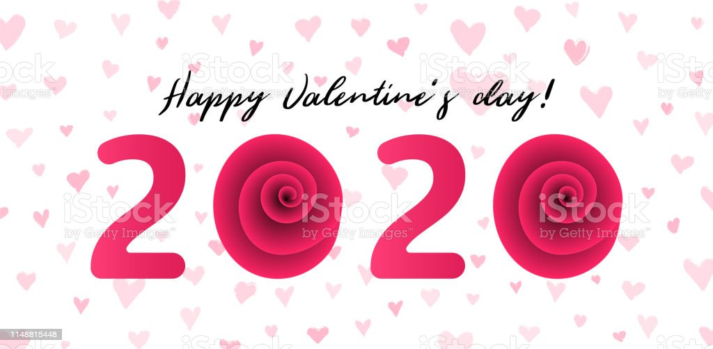 Happy Valentines Day 2020 Vector Illustration Stock