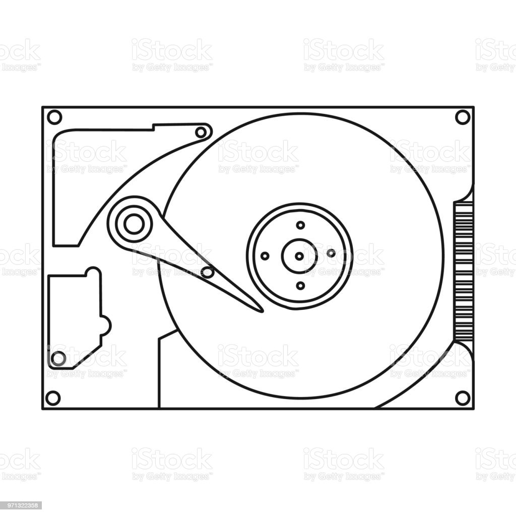 Hard Disk Icon In Outline Style Isolated On White
