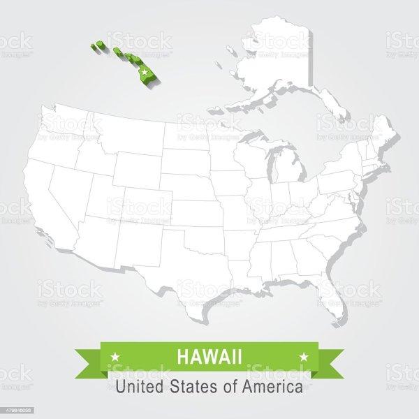 Hawaii State Usa Administrative Map Stock Illustration
