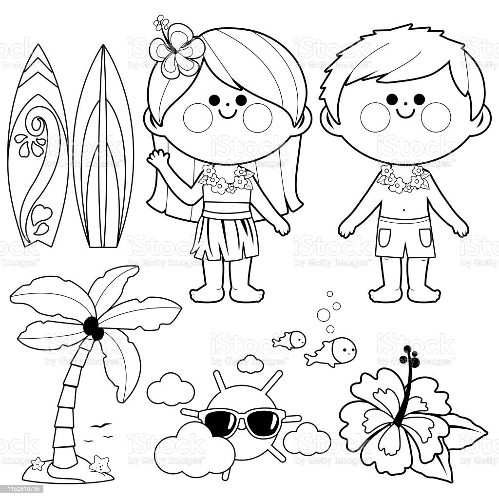 Hawaii Vacation Children Beach Summer Vacation Design