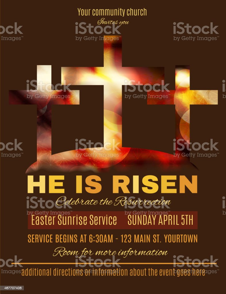 He Is Risen Easter Sunrise Service Flyer Template Royalty-Free Stock Vector  Art