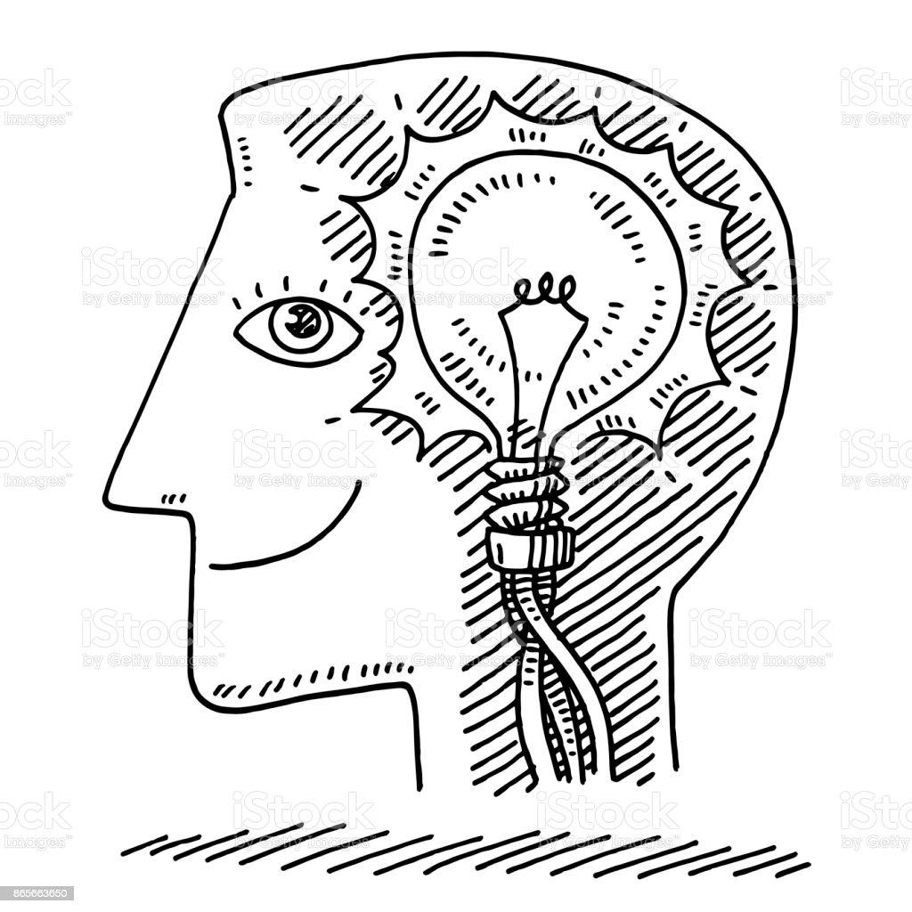 Head Delighted Face Idea Lightbulb Drawing Stock Vector