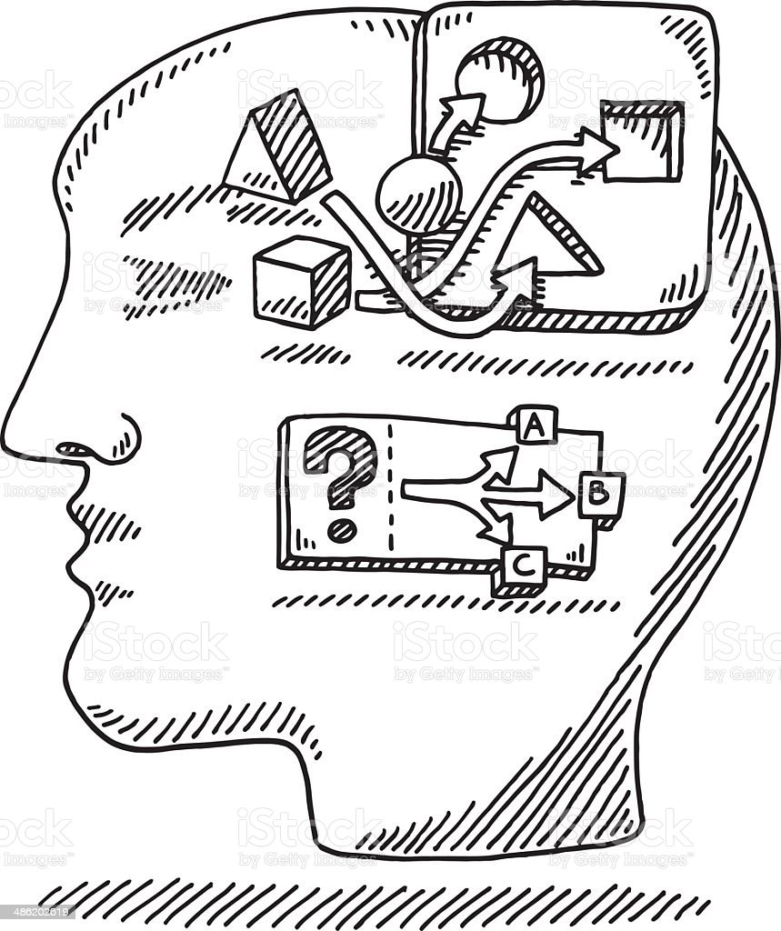 Head Logic Problem Solving Drawing Stock Illustration