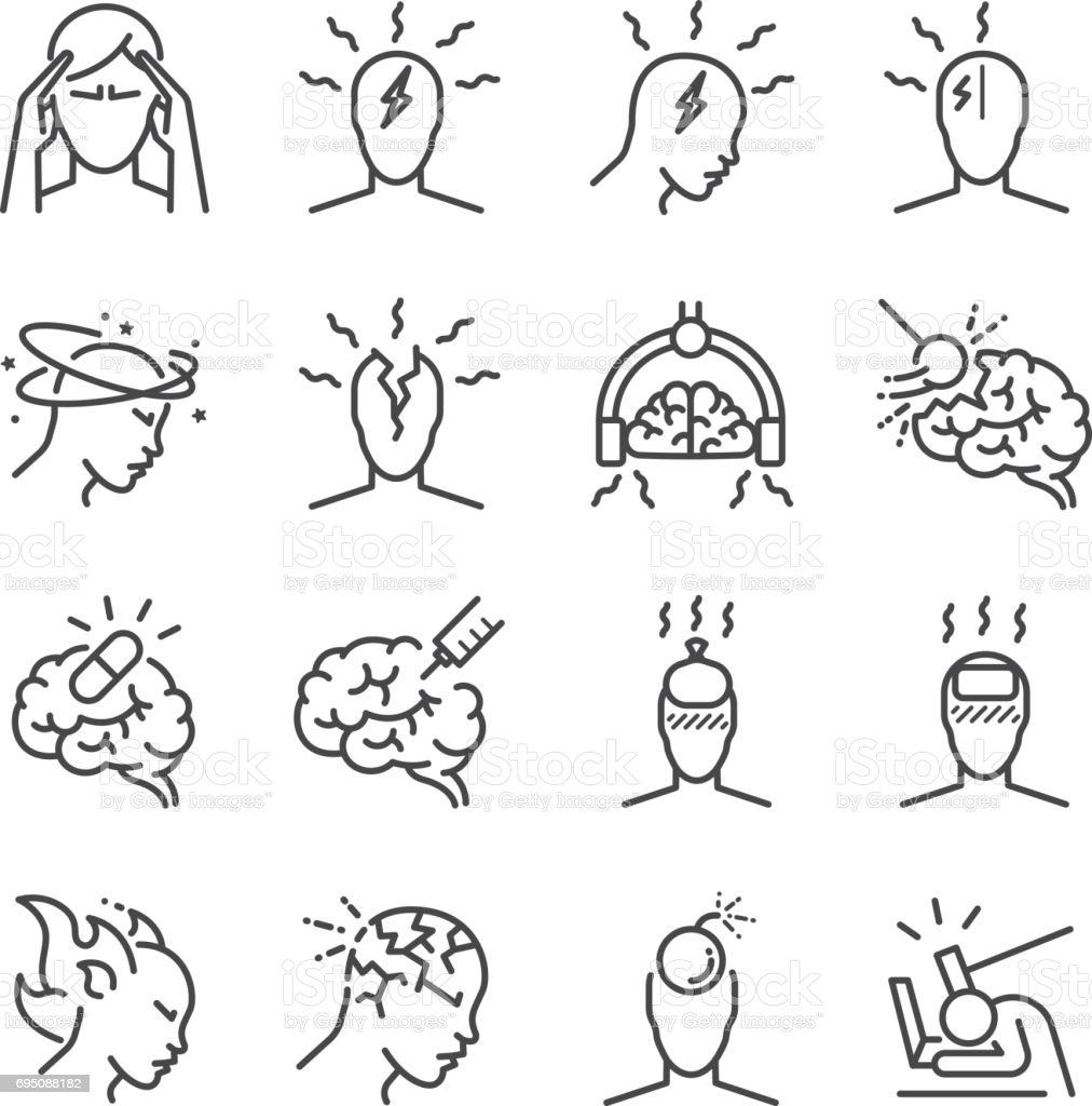 Headache Line Icon Set Included The Icons As Tension
