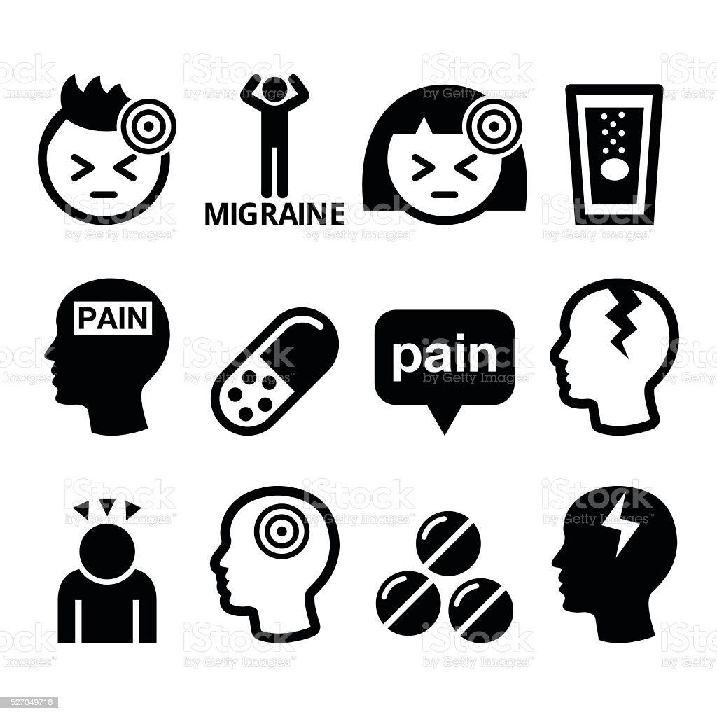 Headache Migraine Medical Vector Icons Set Stock