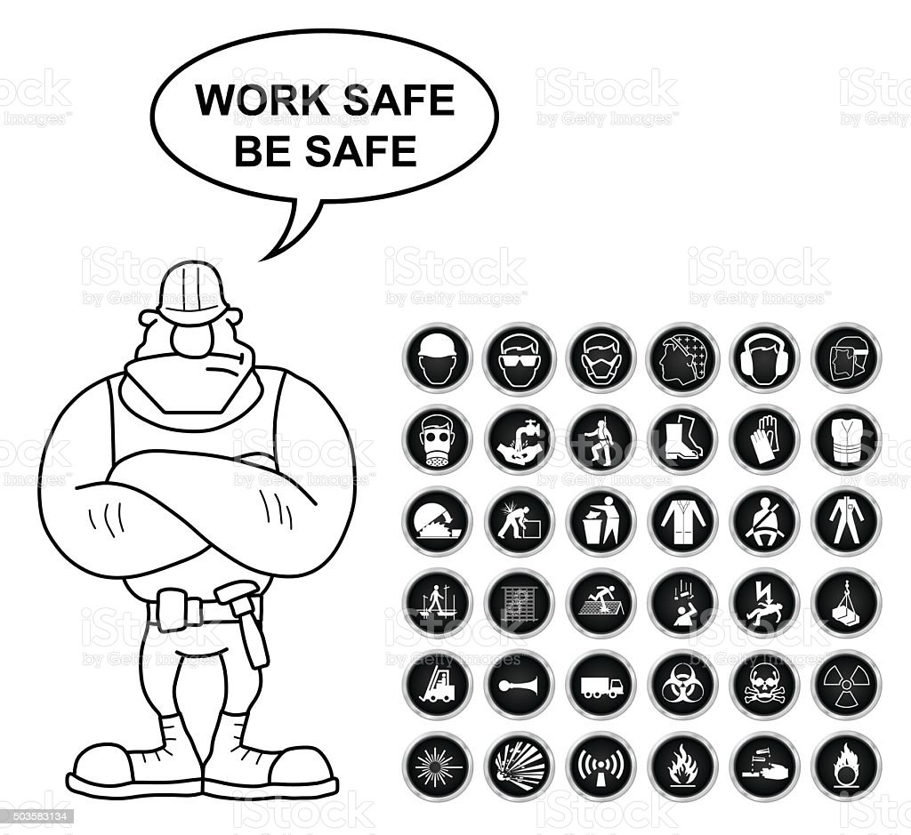 Health And Safety And Hazard Icon Collection Stock