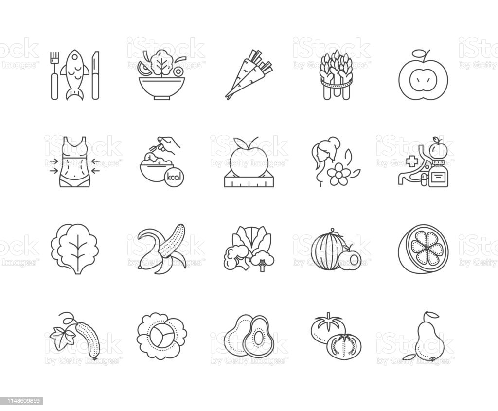 Healthy Eating Line Icons Signs Vector Set Outline