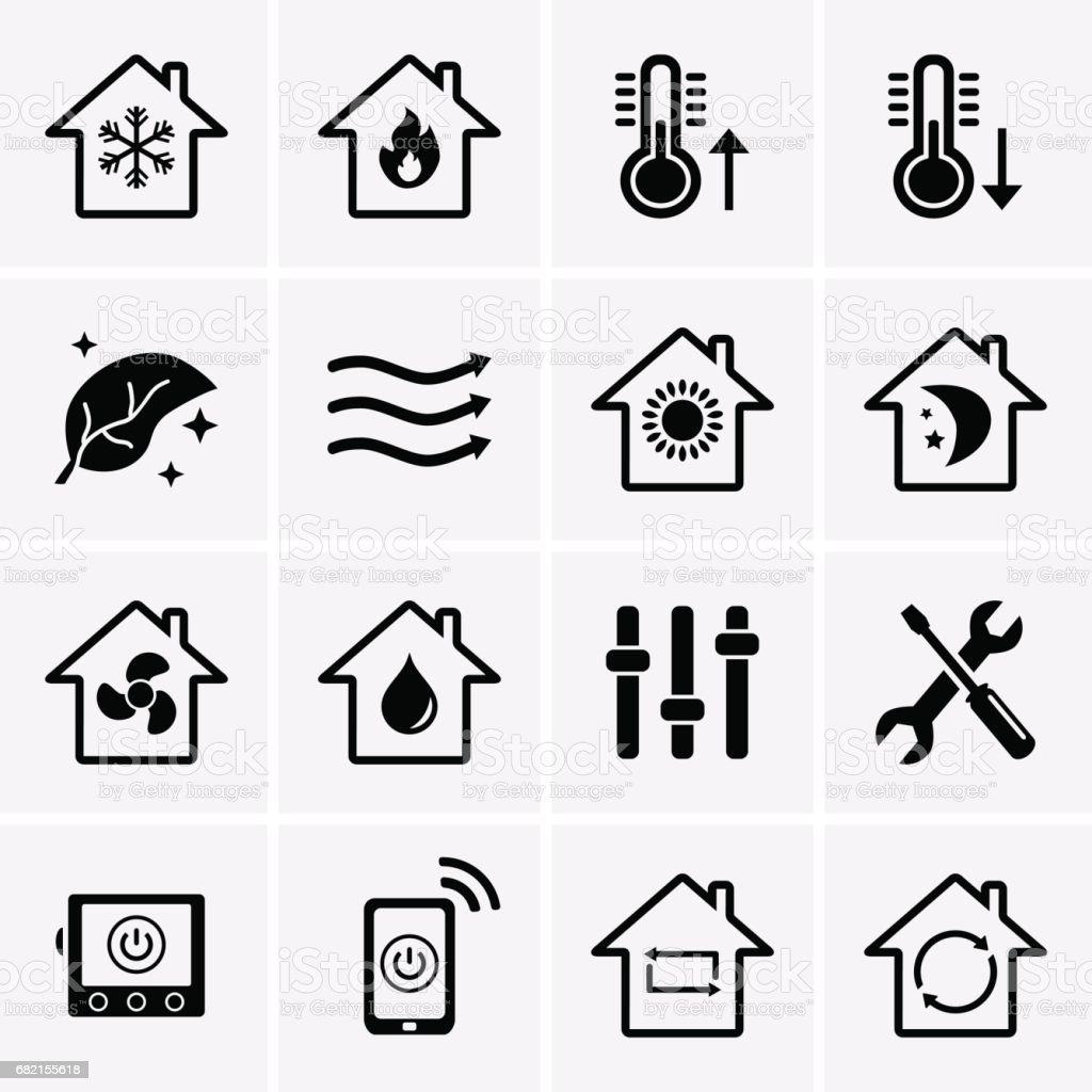 Heizen Und Kühlen Symbole Hlk Technologie Stock Vektor Art