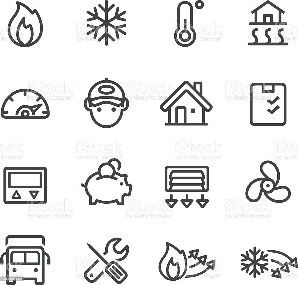 Heating And Cooling Icons Line Series Stock Vector Art