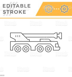 heavy mobile crane line icon illustration  [ 1024 x 1024 Pixel ]