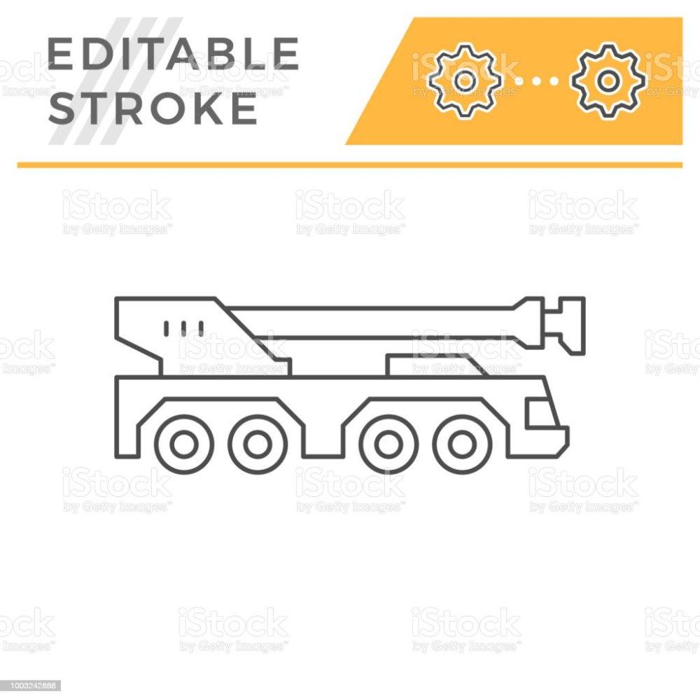 medium resolution of heavy mobile crane line icon illustration