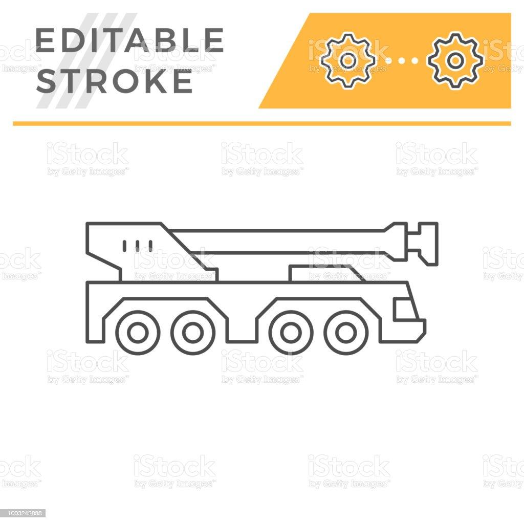 hight resolution of heavy mobile crane line icon illustration