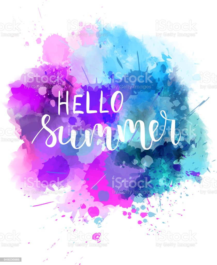 Summer Watercolor Background : summer, watercolor, background, Hello, Summer, Watercolor, Background, Stock, Illustration, Download, Image, IStock