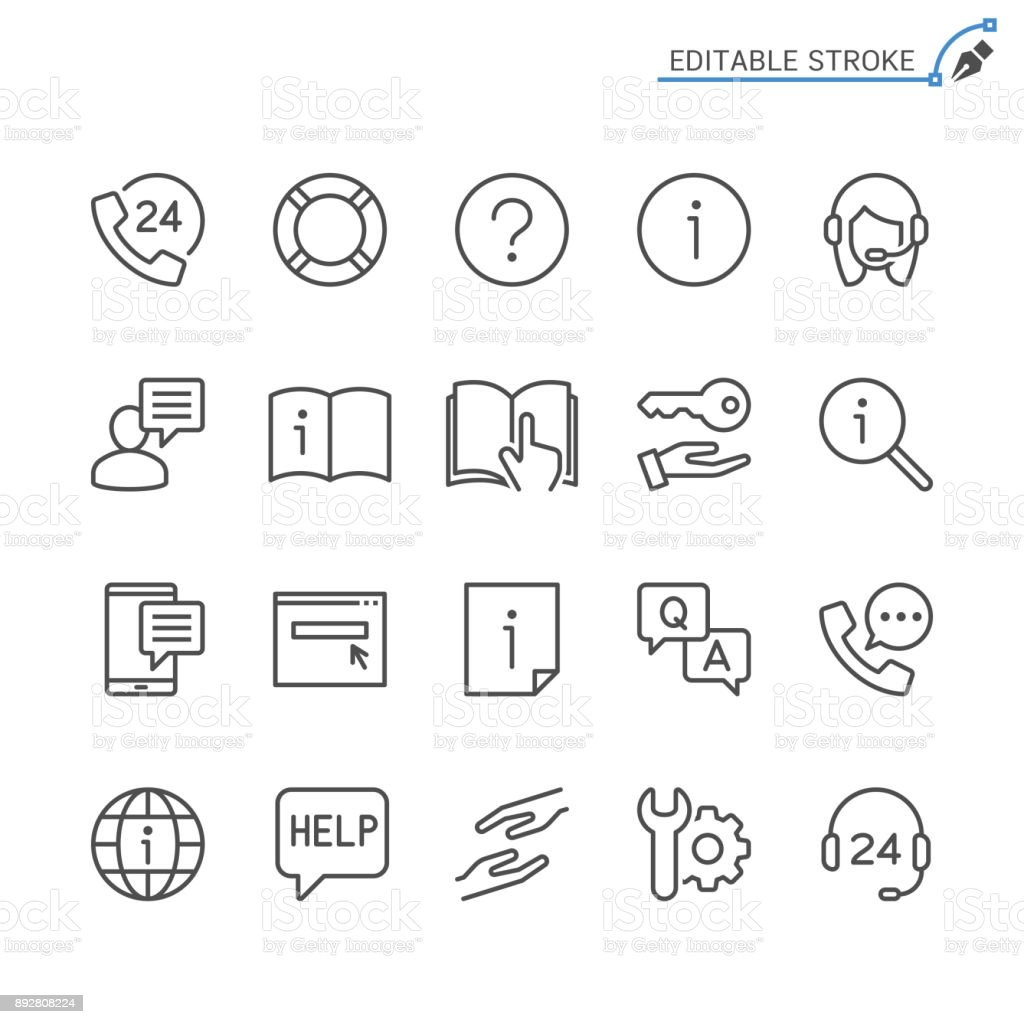 Help And Support Line Icons Editable Stroke Pixel Perfect