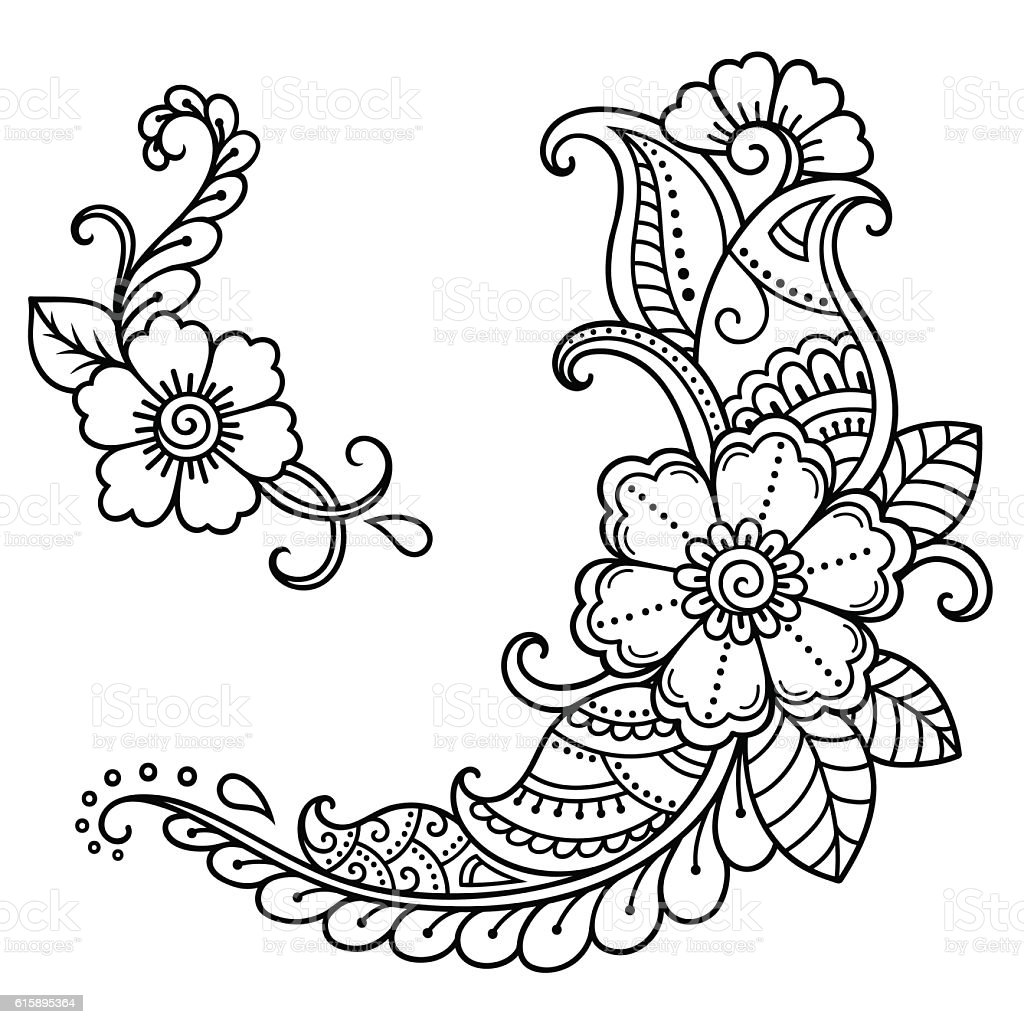 Henna Tattoo Flower Template Mehndi Style Stock