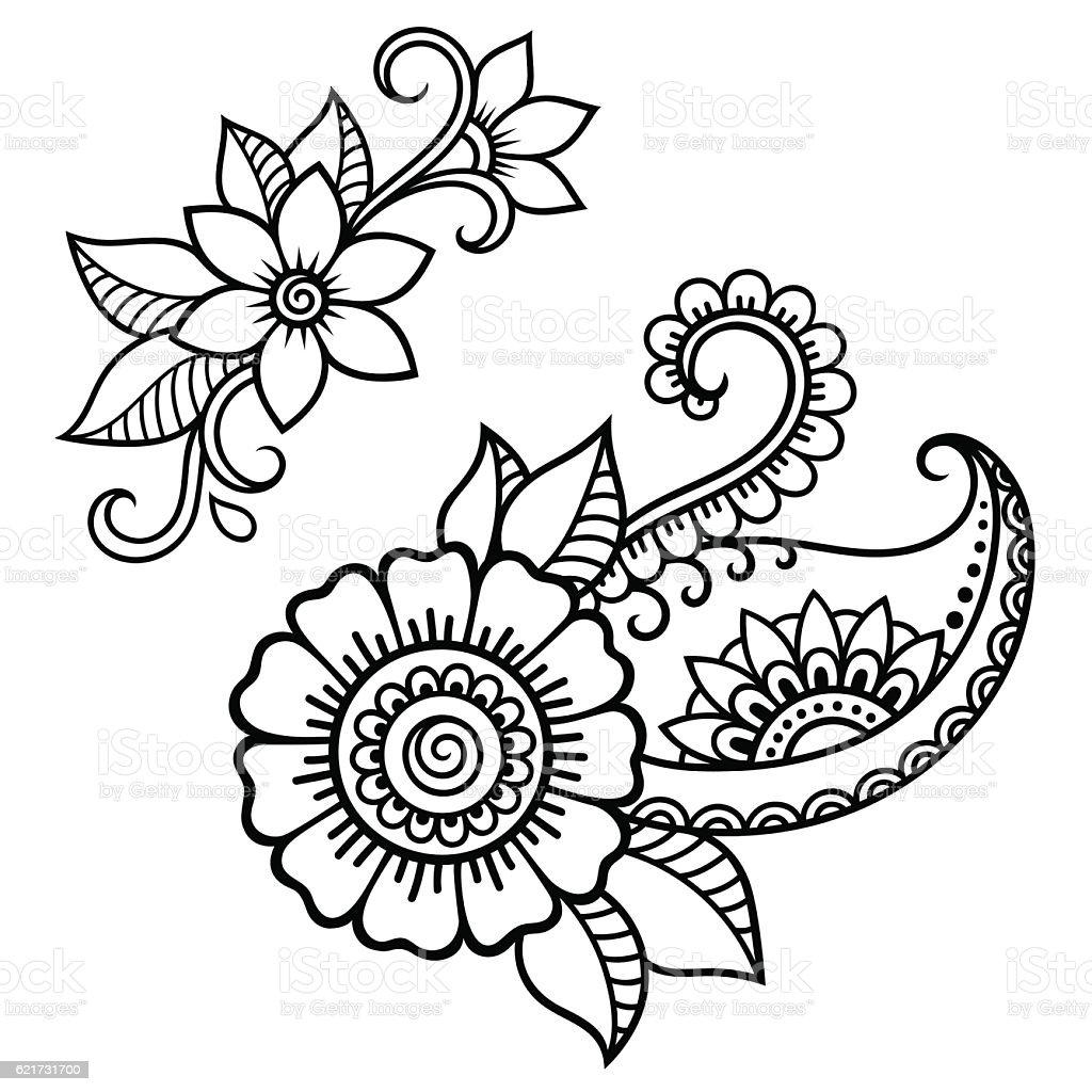 Simple Henna Tattoo Flower Designs
