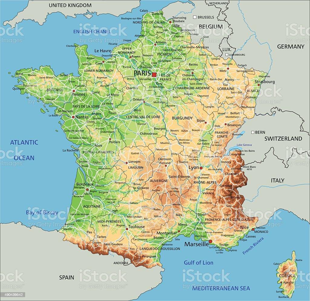 Alta Dettagliata Francia Mappa Fisica Immagini