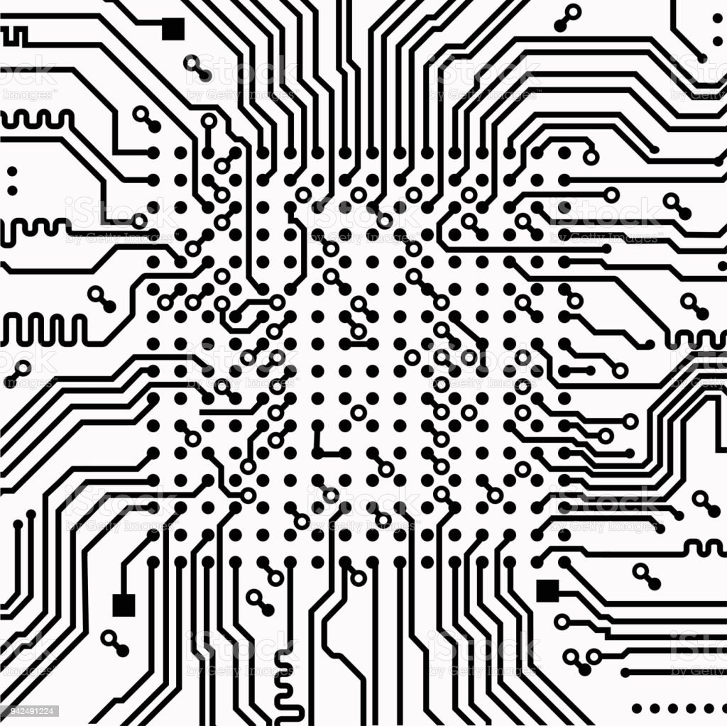 High Tech Electronic Circuit Board Vector Background Stock