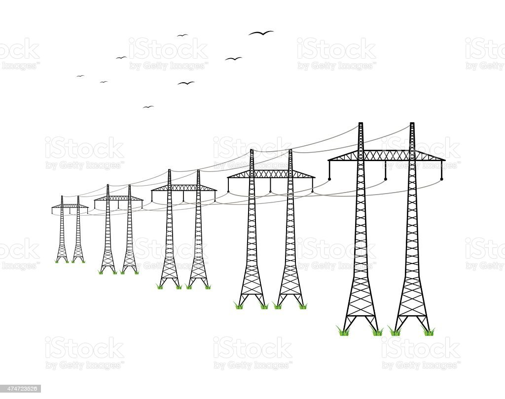 High Voltage Power Lines Stock Vector Art & More Images of