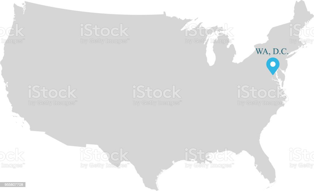 Highly Detailed Usa Map Vector Outline Illustration With Capital Name Washington Dc Abbreviated And Labeled In Gray Background Accurate Map Of United States Of America Prepared By A Map Expert Stock Illustration