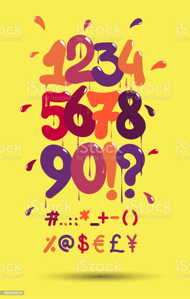 Bubble Graffiti Numbers : bubble, graffiti, numbers, Bubble, Graffiti, Numbers, Symbols, Stock, Illustration, Download, Image, IStock