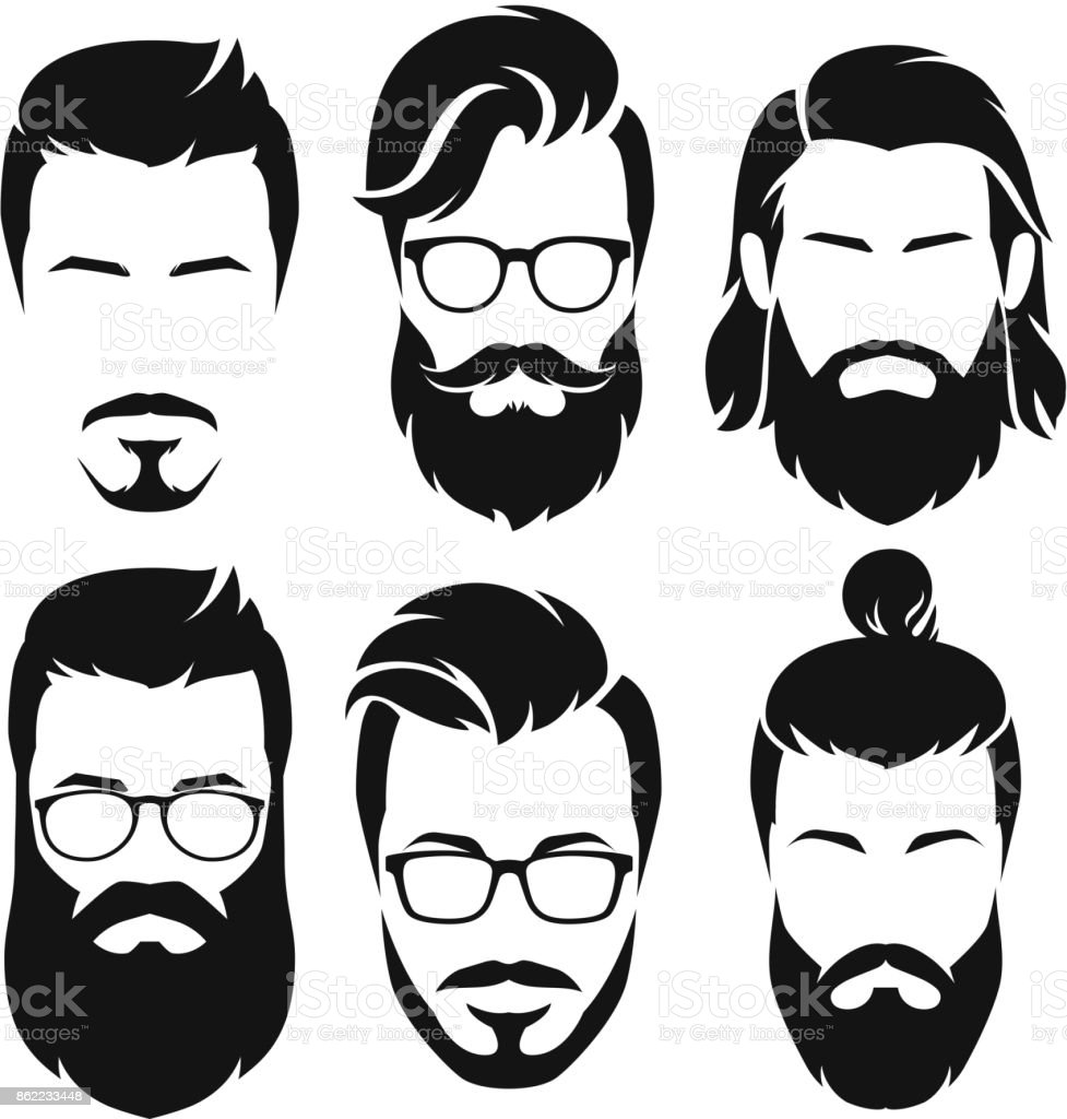 beard illustrations royalty-free