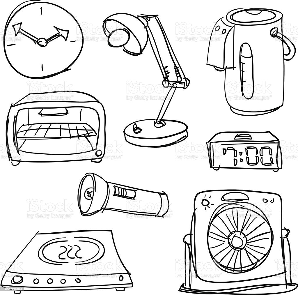 Home Appliances In Black And White Stock Vector Art & More