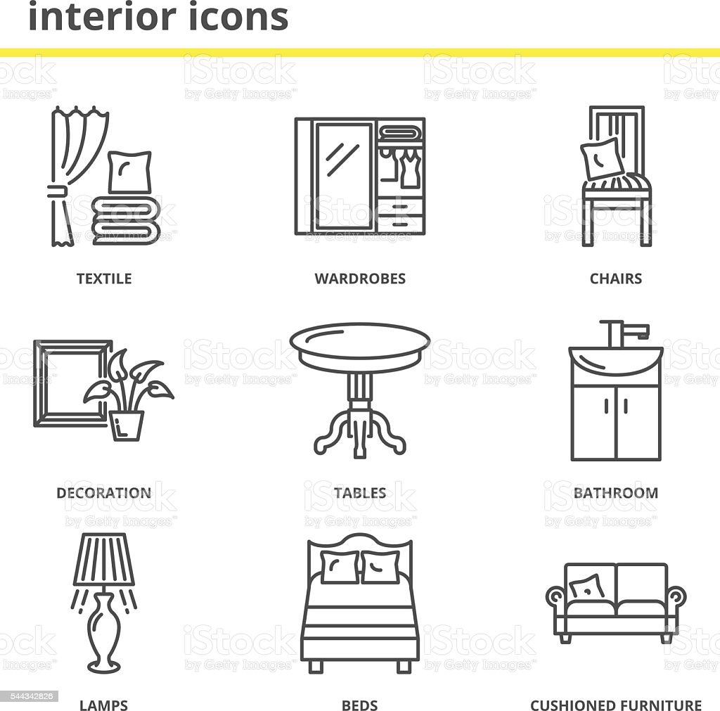 Home Interior Icons Set Stock Vector Art & More Images of