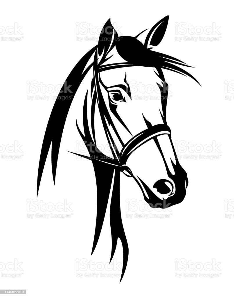 Horse Head With Bridle Black Vector Outline Stock