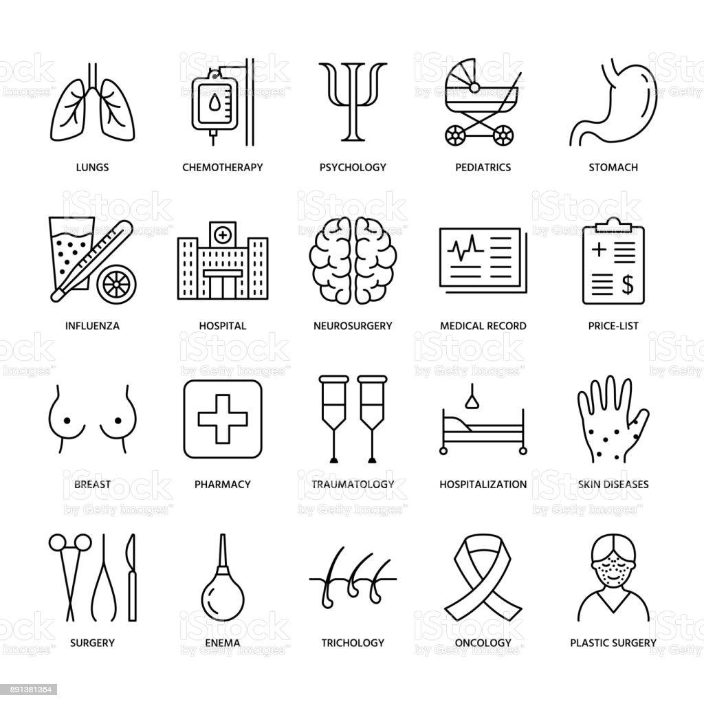 Hospital Medical Flat Line Icons Human Organs Stomach
