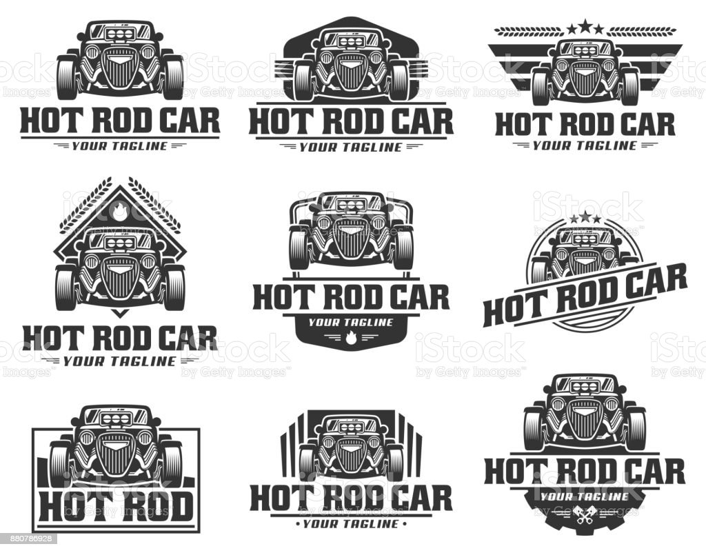 Hot Rod Car Hotrod Vector Emblem Vector Hot Rod Car Design