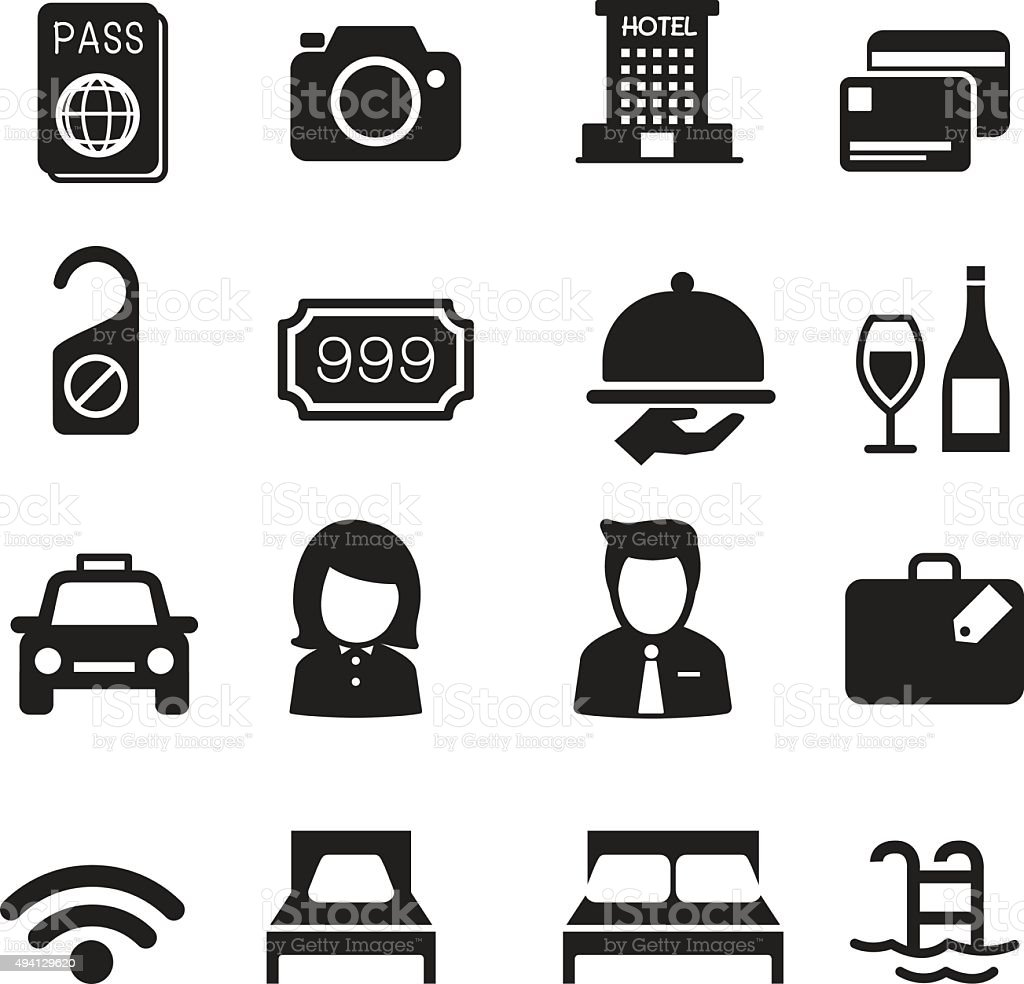 Hotel Silhouette Icons Set Stock Vector Art & More Images