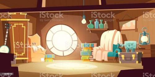 attic cartoon interior vector dachboden boxes casa window illustrations met clipart achtergrond clip realistische moebeln karikatur alten template letto camera