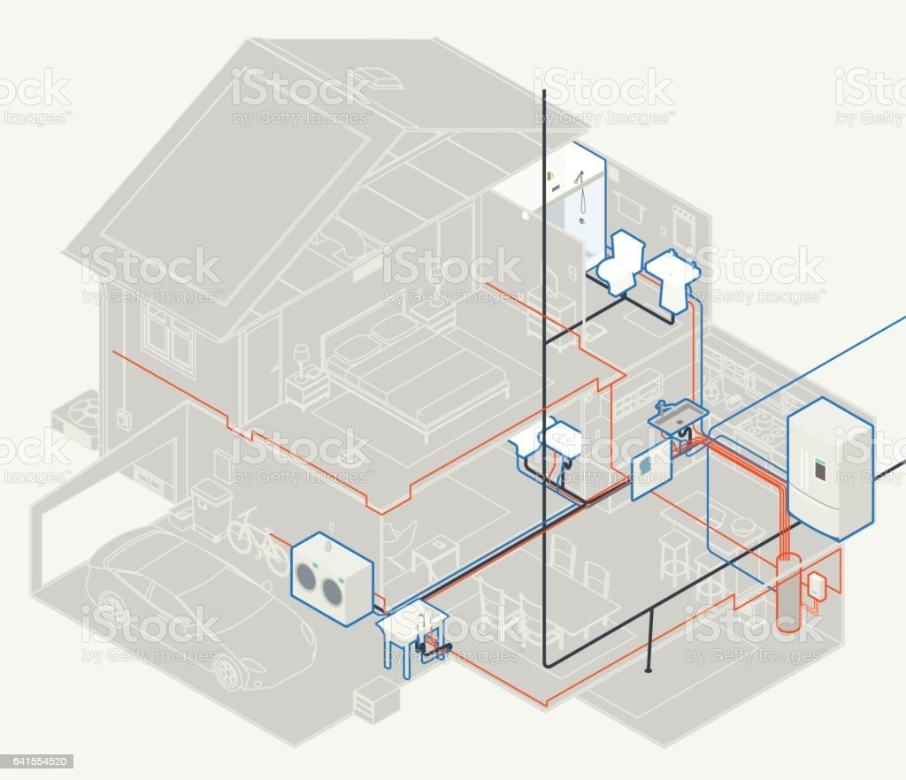 sewer diagram for house caravan towbar wiring plumbing stock vector art and more images of