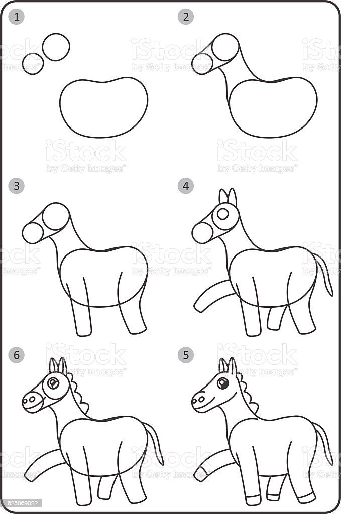 How To Draw Horse Easy Drawing Horse For Children Stock