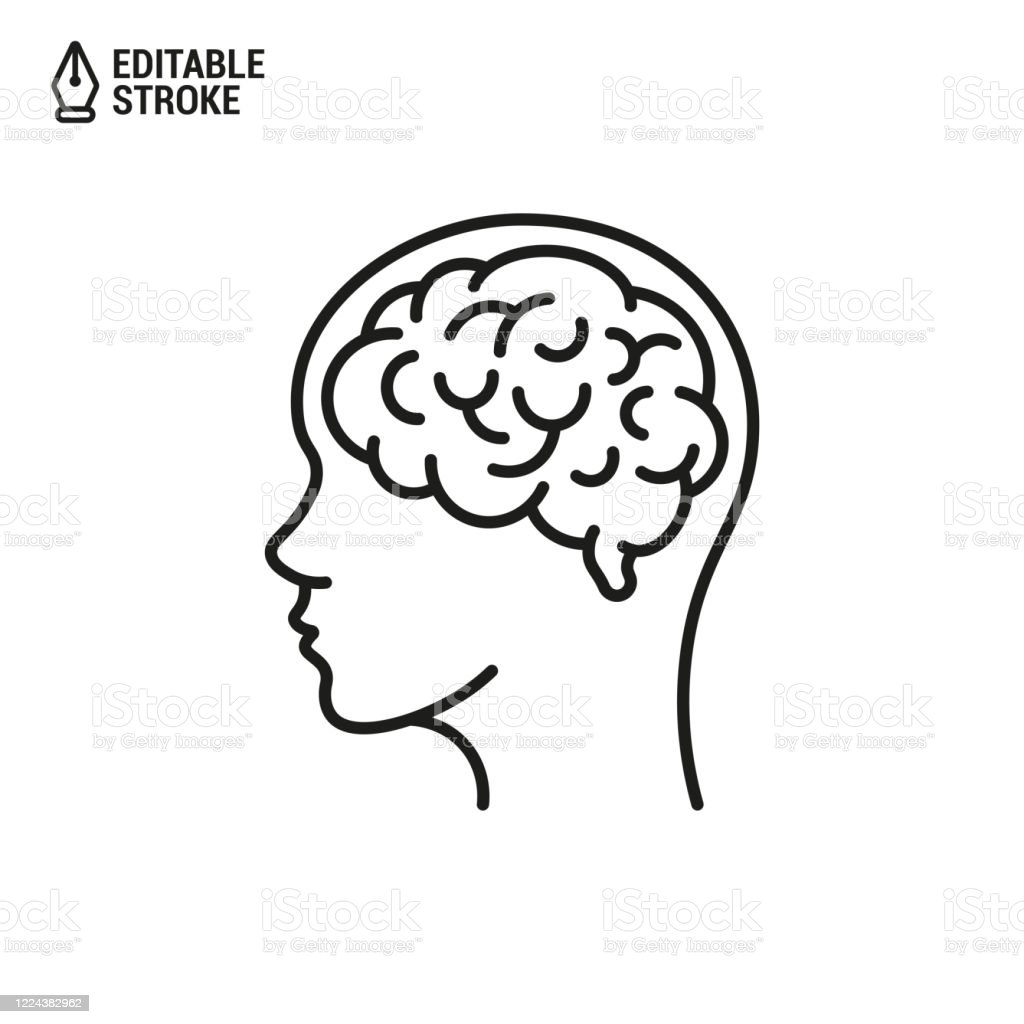 Human Brain In Head Vector Outline Icon With Editable