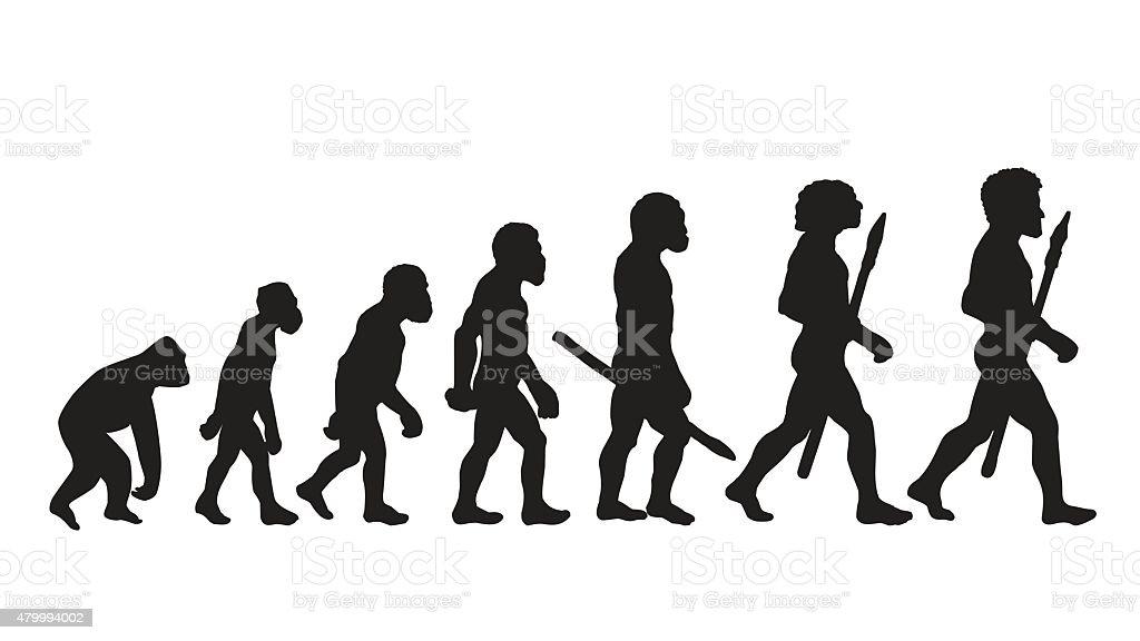 Human Evolution Future Human Evolution Silhouettes Stock