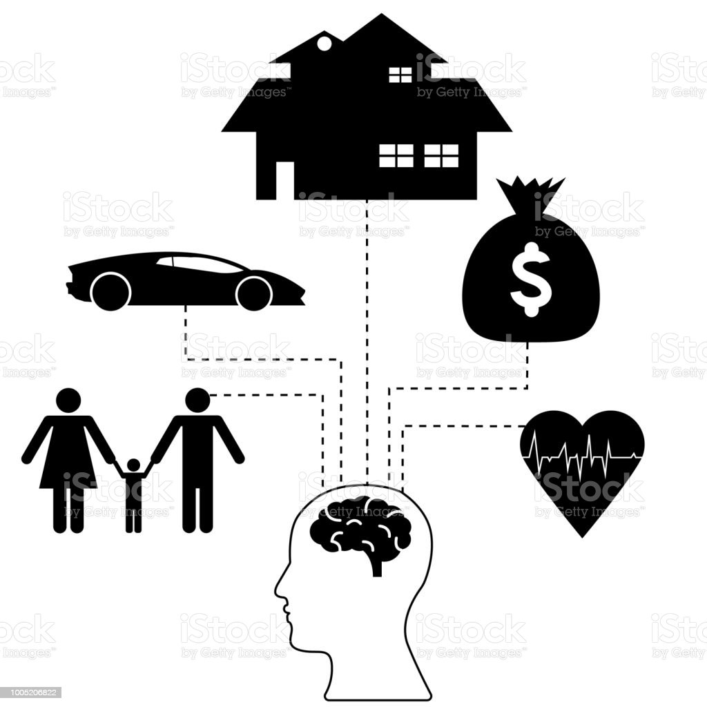 Human Head With Brain Icon With Icons Of House Car Money