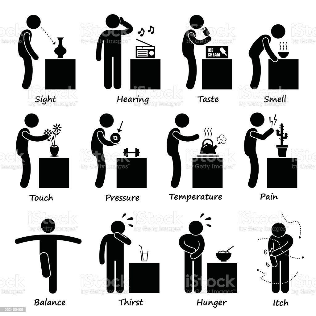 Human Senses Stick Figure Pictogram Icons Stock Vector Art