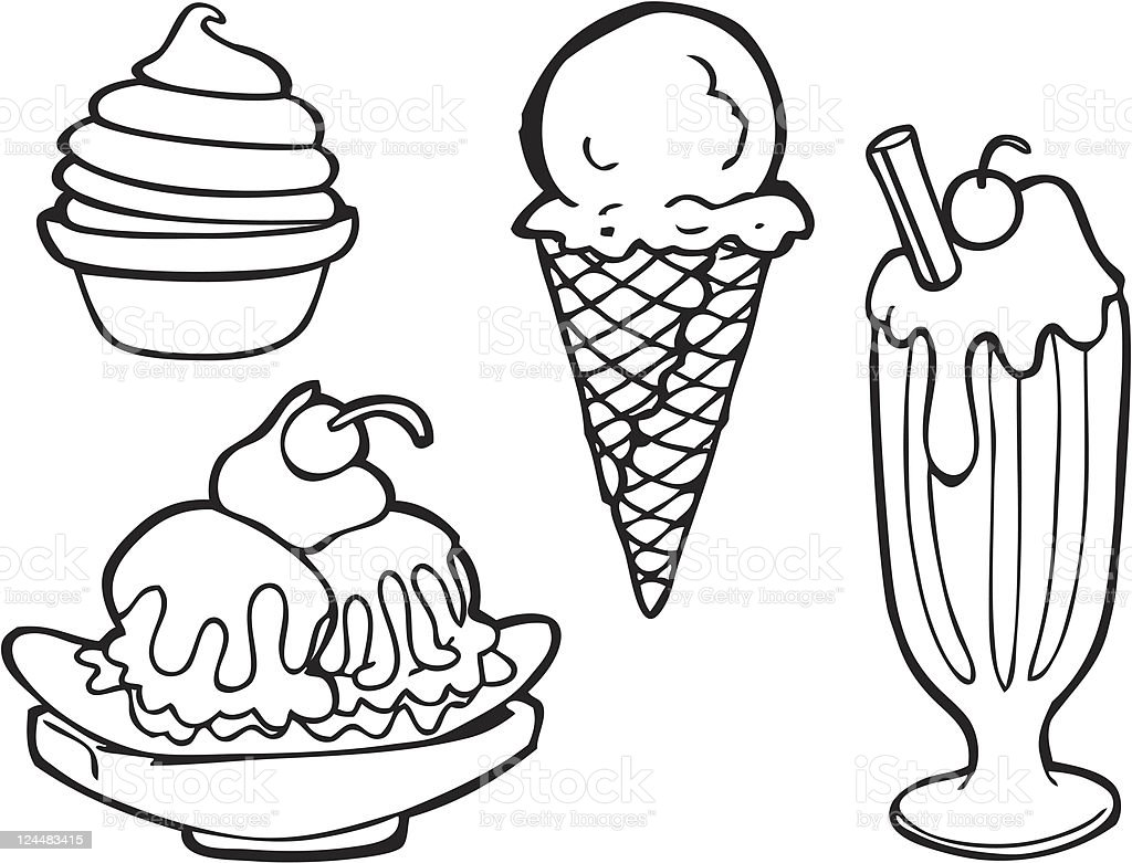 Ice Cream Line Art Stock Vector Art & More Images of Art