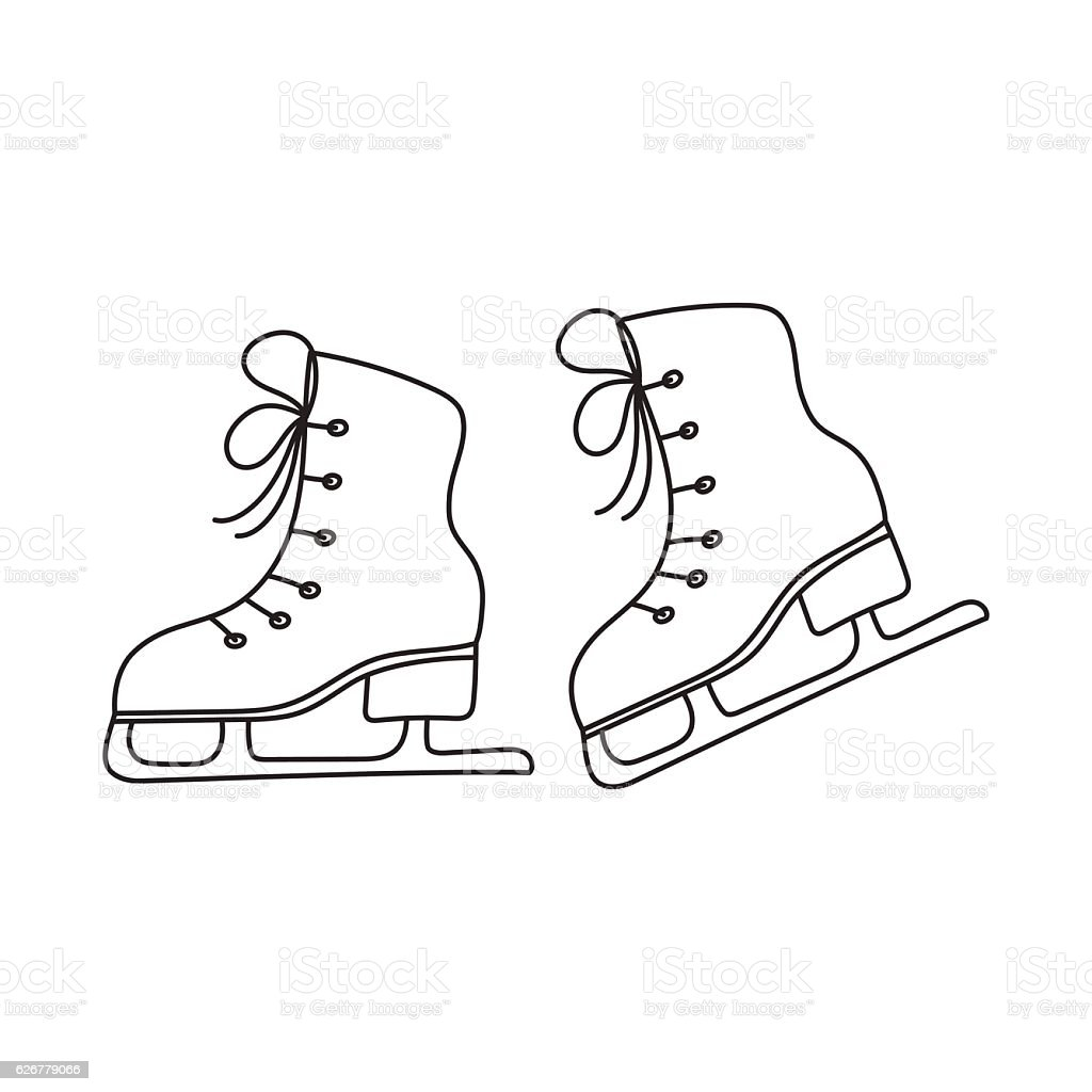 Ice Skates Vector Line Illustration Isolated Stock Vector