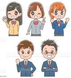 students clip icon japanese illustrations vector graphics royalty