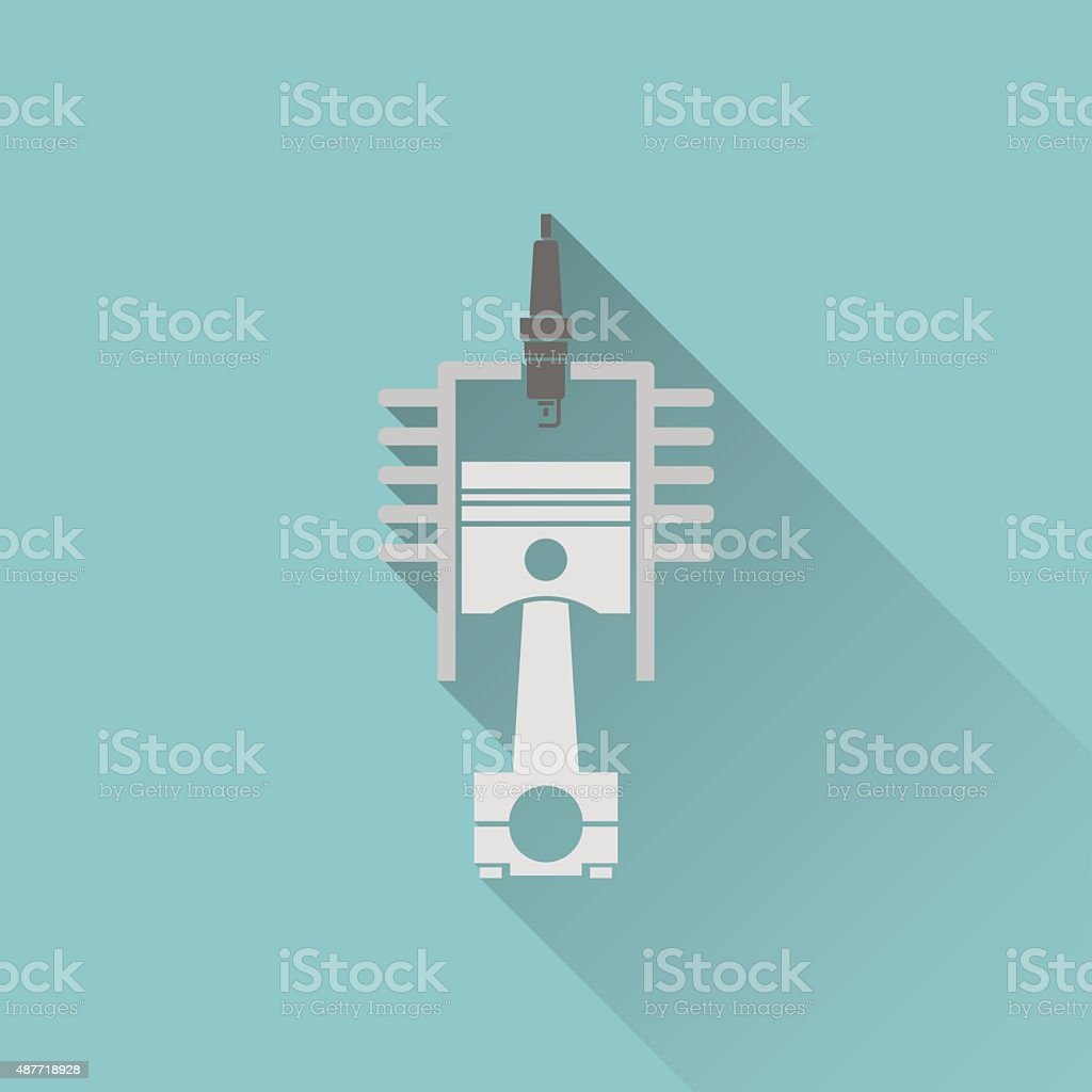 hight resolution of icon of engine piston and cylinder illustration