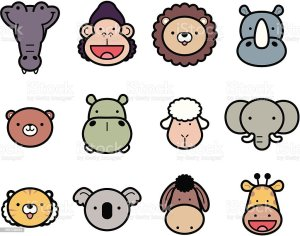 zoo animals animal cartoon drawings vector drawing icon icons face clipart hippo elephant illustrations easy clip sketches illustration draw royalty