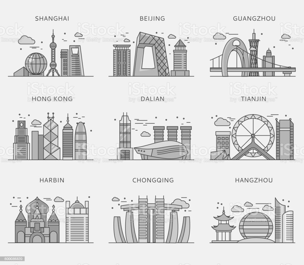 Icons Chinese Major Cities Flat Style Stock Vector Art